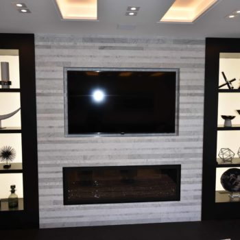 Fireplace and Smart T.V. - Custom homes and Complete renovation by Maki Construction in Mississauga